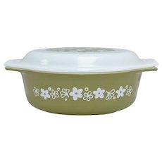 Circa 1970s Pyrex Crazy Daisy Spring Blossom Green Milk Glass 1 1/2 Quart Casserole Dish w/ Original Lid