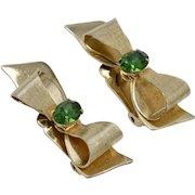 Circa 1950s Coro Signed Large Goldtone Bow w/ Emerald Green Rhinestone Clip Earrings