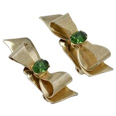 Circa 1950s Coro Signed Large Goldtone Bow w/ Emerald Green Rhinestone Clip Earrings