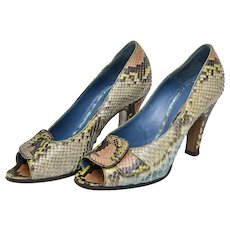 Franklin Elman Buckle Open Toe Genuine Snakeskin Heels - Size 37