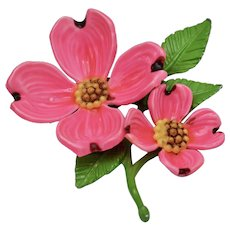 Bright Pink Enamel Dogwood Flower Brooch