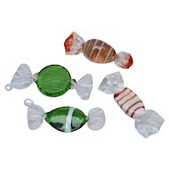 Murano Glass Set of 4 Colorful Glass Candy/ Candies - Great Display for Valentine's Day
