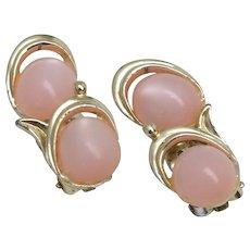 Gold-tone w/ Pink Opalescent Faux Stone Non Pierced Earrings