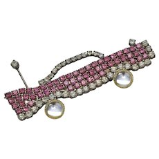Pink & White Rhinestone Bel Air Style 50s Car Pin/Brooch