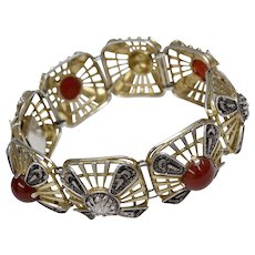 Art Deco 800 Silver European Genuine Carnelian Gold Wash Bracelet