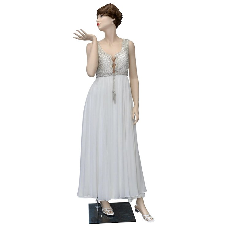 Mike Benet Designer Silver Beaded Ivory White Chiffon Grecian Style ...