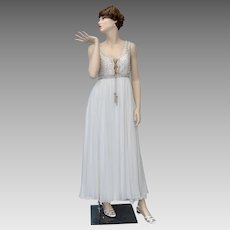 Mike Benet Designer Silver Beaded Ivory White Chiffon Grecian Style Maxi Gown