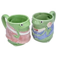 Otagiri Japan Mary Ann Baker Set of 2 Figural Green Frog Art Pottery Mugs