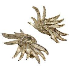 Oscar de la Renta Signed Outrageous Large Feather Burst Twisted Edge Goldtone Clip Earrings