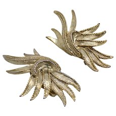 Oscar de la Renta Signed Outrageous Large Feather Burst Twisted Edge Goldtone Clip Earrings
