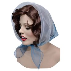 Japan Made Light and Dark Blue Ombre Sheer Chiffon Head or Neck Scarf
