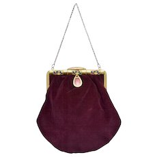 Art Deco Pink Guilloche Enamel Plum Purple Velvet Handbag Purse