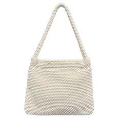 Charming White Egg Bead Handbag Purse