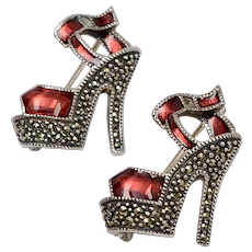 Signed Judith Jack Pair of Sterling Silver Red Enamel & Marcasite High Heel Scatter Pins