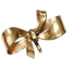 Carl Art Signed 12k GF Fancy Bow Watch Holder Pin/Brooch