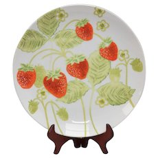Circa 1975 Fitz and Floyd Wild Strawberry Set of 5 Dinner Plates