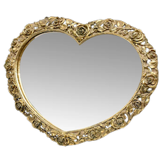 Rare Matson Signed Gold Gilt Ormolu Rose Heart-Shaped Vanity Mirror
