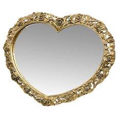 Rare Matson Signed Gold Gilt Ormolu Rose Heart-Shaped Vanity Mirror