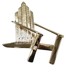 Liz Claiborne Signed Large Adirondack Chair w/ Rhinestone Goldtone Brooch/Pin