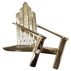 Liz Claiborne Signed Large Adirondack Chair w/ Rhinestone Goldtone Brooch/Pin