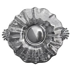 Fostoria Navarre Crystal Clear Etched Flower & Vine Handled Cake Plate Serving Tray