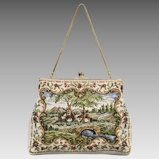 Delill Signed Victorian Inspired Tapestry Purse Handbag w/ Snake Chain
