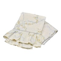 Wamsutta Percale 2-Pc Twin Sheet Set w/ Blue Bows & Gold Flowers on Pale Yellow or Cream Background