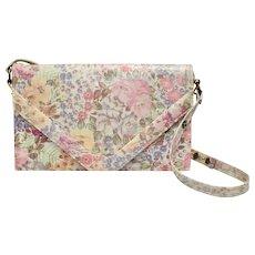 Signed Allison Bag Genuine Leather Pastel Floral Envelope Handbag Purse - Perfect for Spring