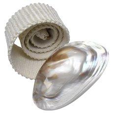 Charmant Signed Genuine Pearlescent Half Clam Seashell Belt Buckle w/ White Fabric Elastic Belt