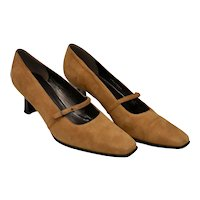 Stuart Weitzman Camel Brown Suede Leather Mary Jane Style Heels - Size 8