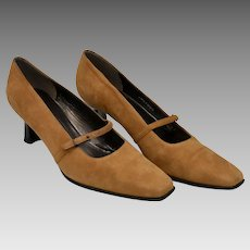 7610750d3ff2 Stuart Weitzman Camel Brown Suede Leather Mary Jane Style Heels - Size 8