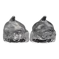 Set of 2 Partylite Clear Textured Glass Dolphin on Waves Votive or Tealight Candle Holder