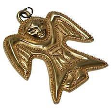 Circa 1992 Metropolitan Museum of Art Large Folk Art Style Angel Pendant or Ornament