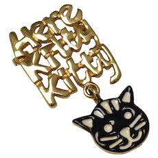 """Here Kitty Kitty"" Black & White Enamel Cat Face Dangle Goldtone Brooch/Pin"