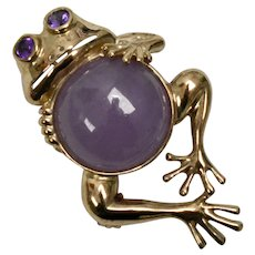 10k Gold Lavender Purple Jade Belly & Amethyst Eye Frog Pendant/Pin