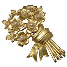 Faux White Pearl Flower Bouquet Large Goldtone Brooch/Pin