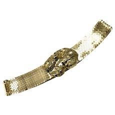 Charmant Beverly Hills CA Biomorphic Design Goldtone Buckle w/ Fish Scale Style Belt