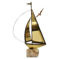 Signed Mario Jason Nautical Brass Sailboat Sculpture on Green Onyx Stone Base