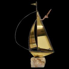 Signed Mario Jason Nautical Brass Sailboat Sculpture on Green Onyx Stone Base