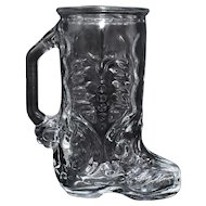 Set of 4 Libbey Brand Western Cowboy Boot Handled Heavy Glass Mugs - Mexico