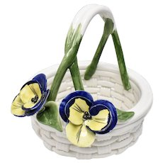 Capodimonte Ceramic Pansy Flower Braided Basket - Great for Easter!