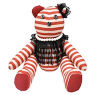 Articulated Red & White Striped Stuffed Bear w/ Corduroy Ears & Soles