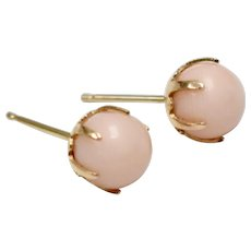 14K Gold Pink Angel Skin Coral Stud Pierced Earrings
