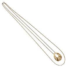 Trifari Signed Large Goldtone Teardrop Pendant Double Strand Necklace