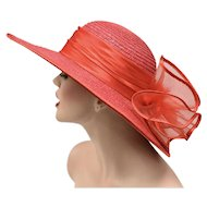 Red Wide Brim Cartwheel Straw Hat w/ Large Bow on Back