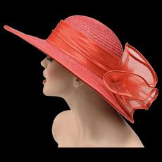 Red Wide Brim Cartwheel Straw Hat w/ Large Bow on Back