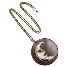 Large Crescent Moon w/ Winking Red Rhinestone Eye Round Wood Grain Pendant