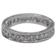Sterling Silver & Clear Cubic Zirconia Infinity Band Ladies Ring - Size 6.5