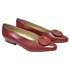 Vintage Jazz Brand Red Leather Stylized Flower on Vamp Low Heel Shoes - Size 6 1/2 M