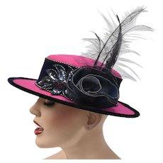 Deborah NY Magenta Pink Felt Hat w/ Deep Blue Sequin Patch, Flower & Feathers
